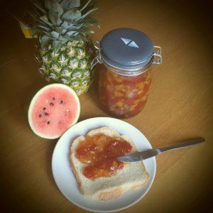 >Confiture à la pastèque, ananas et vanille…